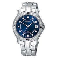 Pulsar PXH559X1 Men's Crystal Accented Silver-Tone Watch